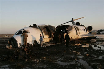 Обгоревший Ту-154 в Мешхеде